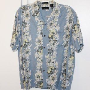 Van Heusen Hawaiian Floral Washable Silk Shirt L
